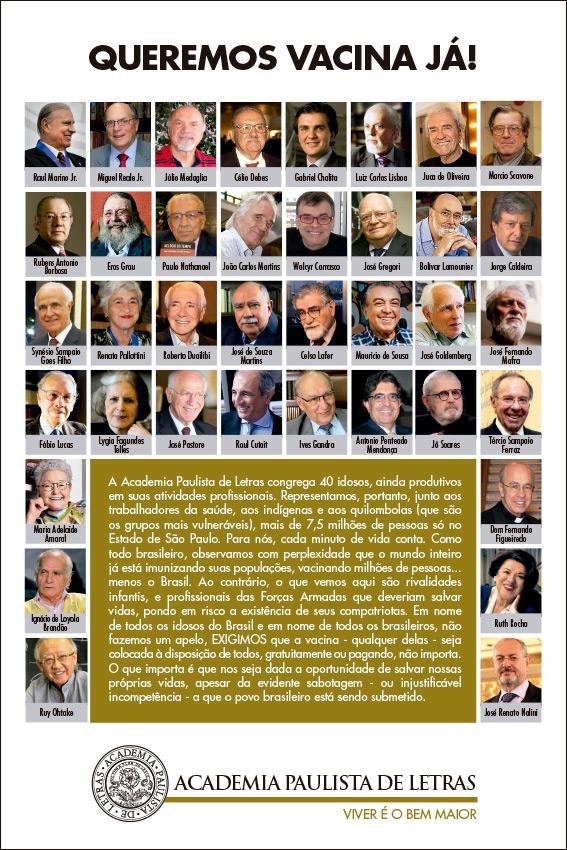 Mensagem APL em prol da disponibilização da vacina para todos os brasileiros, contendo a foto de todos os acadêmicos.